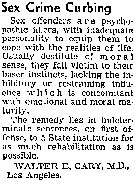 Sex Crime Curbing, Letter to the Editor, Los Angeles Times, January 12, 1950
