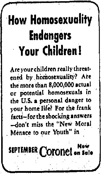 How Homosexuality Endangers your Children, Advertisement, Los Angeles Times, August 23, 1950