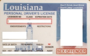 Special driver's license issued to registered people in Louisiana